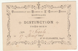 Hérault, Montpellier, Pensionnat Des Dames Du St Enfant Jésus, Distinction Très Bien 1888 - Diploma & School Reports
