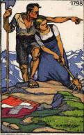 Cpa 1913, Un Couple, Près D'un Drapeau Suisse à Terre, S'est Armé Pour Sa Défense En 1798 (47.29) - Vari