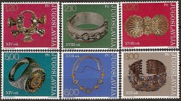 Yugoslavia 1975 Antique Jewelry Yugoslav Museums Art Archaeology Gold Stamps MNH SC 1235-1240 Michel 1587-1592 - Archaeology