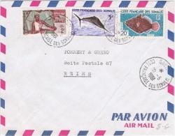 COL-L22 - COTE DES SOMALIS N° 273 + 296 Et 299 (poissons) Sur Lettre Par Avion De Djibouti Pour Reims - Lettres & Documents