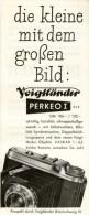 Original-Werbung/ Anzeige 1952 -  PERKEO KAMERA - VOIGTLÄNDER / BRAUNSCHWEIG - Ca. 65 X 160 Mm - Publicidad