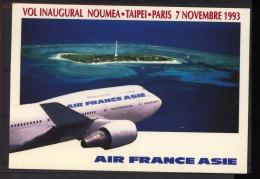 00998   -  Nouvelle Caledonie  -  Avion  :   Yv  276  (o)  Vol Inaugural Noumea-Taipei-Paris - Luftpost
