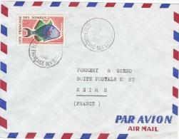 CPL-L21 - COTE DES SOMALIS N° 300 (poisson) Sur Lettre Par Avion De Djibouti Pour Reims - Lettres & Documents