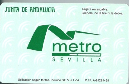 Promotional Contactless Recheargable Card Metro Sevilla , Limited Edition Underground Train - Abonnements Hebdomadaires & Mensuels