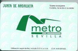 Promotional Contactless Recheargable Card Metro Sevilla , Limited Edition Underground Train - Wochen- U. Monatsausweise