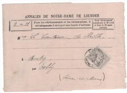 Type Sage N° 87 SEUL SUR BANDE (cote 85€) 3c Gris / Entete Annales De ND De Lourdes Cad Arrivée - Marcophilie (Lettres)