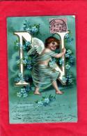 Ange - Angelot - Carte Gaufrée - Précurseur - Alphabet Lettre N ( 2 Scans ) - Anges