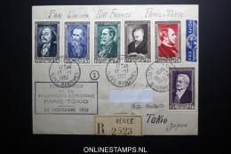 France: Premier Liasions Aerienne  Paris Tokio Japon  Par Air France 24-11-1952 R-lettre Yv 930-935 - Airmail