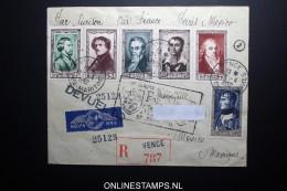 France: Premier Liasions Aerienne  Paris Mexico  Par Air France 27-4-1952 R-lettre Yv 891 - 896 - Airmail