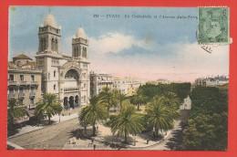 CPA Tunisie - Tunis - La Cathédrale Et L'avenue Jules Ferry - Tunisie