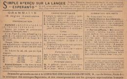 Langages - Langue Esperanto - Grammaire - Publicité Librairie Espérantiste 11 Rue De Sèvres Paris 75 6ème - Esperanto