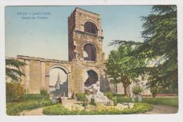 13 - ARLES SUR RHÔNE GRAND HÔTEL DU FORUM  LE JARDIN PUBLIC RUINES DU THÉÂTRE - 25/7/1916 - CARTE HELIA MOULLOT - 2 Sca - Arles