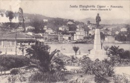 D CPA ITALIE ITALIA VISUEL RARE SANTA MARGHERITA LIGURE PANORAMA E PIAZZA VITTORIO EMANUELE II DOS TIMBRE TAXE - Italy