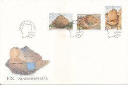 Aland FDC 2-1-1995 Complete Set Of 3 Geology With Cachet (with A Brown Stain On The Cover) - Aland