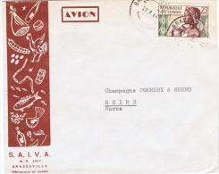 LA 114 - CONGO N° 135 Sur Lettre Par Avion De Brazzaville Pour Reims - Congo - Brazzaville