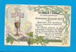 COMUNIONE PASQUALE: ANNO 1907 -  CASALE MONFERRATO-PARROCCHIA DI S. DOMENICO - Mm. 71X111 - MAN - Religione & Esoterismo