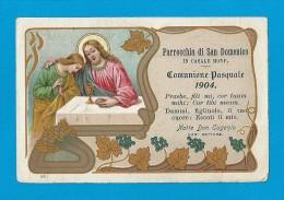 COMUNIONE PASQUALE: ANNO 1904 -  CASALE MONFERRATO-PARROCCHIA DI S. DOMENICO - Mm. 75X114 - MAN - Religione & Esoterismo
