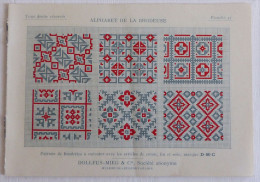 Ancien Album De Lettres Au Point De Croix D.M.C. Alphabet Monogrammes. En Rouge Et Bleu. Années 1920 - Cross Stitch