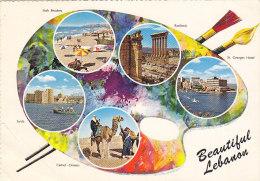 Liban Lebanon - Palette Postcard 1965 Butterfly Stamp - Libanon