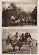 2 X RPPC, WW2, COSTUMI SICILIANI, RACCOLTO DELLE ORANCIE  + CARRO SICILIANO - Ohne Zuordnung