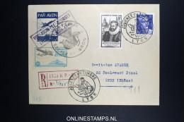 France: Journee Du Timbres 1945 Lyon Vol Bron - Le Bourget, R-lettre + Vignet - Airmail