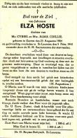 Hoste Elza ° Zarren 1904 + 1942 St-Laureins Lot.8166 - Images Religieuses