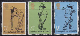 3535. Great Britain (England), 1973, 100 Years Of County Cricket, MNH (**) Michel 621-623 - 1952-.... (Elizabeth II)