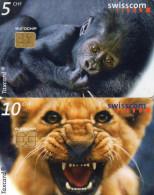 TELECARTES SUISSE  5CHF/10CHF  Lion Singe Lion Monkey  (lot De 2)  *****5 - Suisse