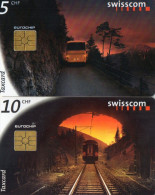 TELECARTES SUISSE  5CHF/10CHF Train Bus  Railways  Bus  (lot De 2) - Schweiz
