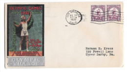 US 1932 Olympic Village Silver Overprint Cachet Summer Opening Day Cover Sc 718 3c Pair