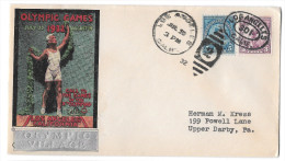 US 1932 Olympics Summer Opening Day Cover Olympic Village Silver Cachet Sc 718 719 Set