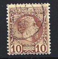 "Monaco YT 4 "" Prince Charles III 10c. Lilas "" 1885 Oblitéré - Monaco"