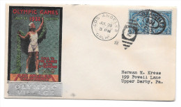 US 1932 Olympics Summer Opening Day Cover Olympic Village Silver Cachet Sc 719 Pair