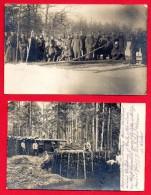 Biélorussie. Lot De 2 Cartes-photos. Soldats Allemands. Construction Abris. Feldpost Der 93.Infanterie Division. 1916-17 - Belarus