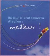 Marque-page  °°  Claire Vision  :-.  Pense - Bonheur   .°.   Un Jour Le Vent Tournera Meilleur  --   8 X 9 - Marque-Pages