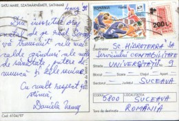 Romania - Postcard Circulated In 1998 With Stamps Rugby And Overprint  - 2/scans - Covers & Documents