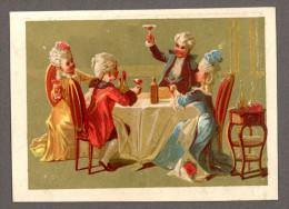 Jolie Chromo Dorée, Lith. Bognard, Personnages En Costume, Le Souper Fin - Trade Cards
