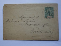 INDOCHINA 1898 COVER SAIGON TO PONDICHERY INDIA SAIGON CENTRAL COCHIN CHINA POSTMARK - Indochine (1889-1945)
