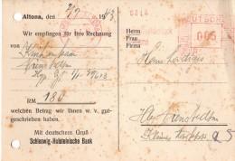 Allemagne- Banque - Reçu Bancaire Allemand Hambourg Altona Le 02.07.1943 - Altona