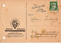 Allemagne- Banque - Reçu Bancaire Allemand Hambourg Altona Le 29.06.1943 Altonaer - Volksbank - Altona
