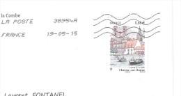 France, Lettre Avec Timbre CHALON Sur SAONE ; Péniche  , 2015 , TB - Poststempel (Briefe)