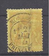 MONACO --- 25 C. Bistre S. Jaune   Type SAGE (FRANCE )     Oblitéré CàD MAI 1881 MONACO - PRINCIPAUTE - Monaco