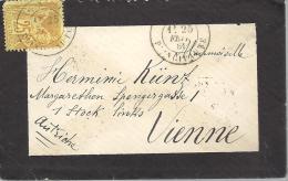 MONACO --Enveloppe De  Deuil Du 25 C.bistre S. Jaune Type SAGE (FRANCE ) Oblitéré CàD 25 FEV. 1881 MONACO - PRINCIPAUTE - Monaco