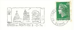 Cover Flamme Meter Crecy En Ponthieu 9/2/1974 Histoire Nature Church - Geschiedenis