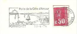 Cover Flamme Meter Porte De La Cote D'amour, Pornichet 29/4/1974 Plage Sailingship - Vakantie & Toerisme