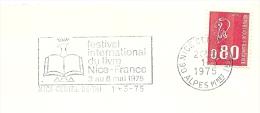 Cover Flamme Meter Festival International Du Livre Nice-France, Nice Centre 1/3/1975 - Andere