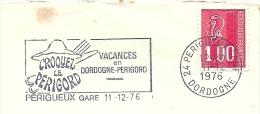 Cover Flamme Meter  Vacances En Dordogne-Perigord CROOYEZ Le PERIGORD, Perigueux Gare 11/12/1976 - Vakantie & Toerisme