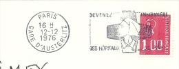 Cover Flamme Meter  Devenez Des Hopitaux, Paris Gare D'Austerlitz 12/12/1976 - Geneeskunde