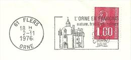Cover Flamme Meter  L'orne En Francais, Nature, Tradition, Culture, Eglise, Flers Orne 2/11/1976 - Kerken En Kathedralen