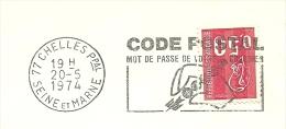 Cover Flamme Meter  Code Postal Chelles Seine Et Marne 20/5/1974 - Post